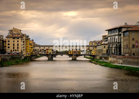 FLORENCE, ITALY - CIRCA MAY 2015:  Ponte Vecchio and Arno river in Florence, Italy. - Stock Photo
