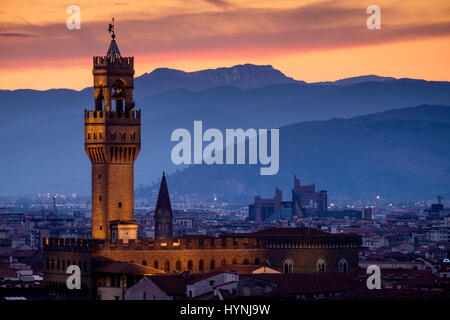 FLORENCE, ITALY - CIRCA MAY 2015:  Palazzo Vecchio at dusk as seen from Piazza Michelangelo - Stock Photo