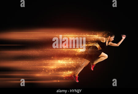 Athletic woman fast runner - Stock Photo