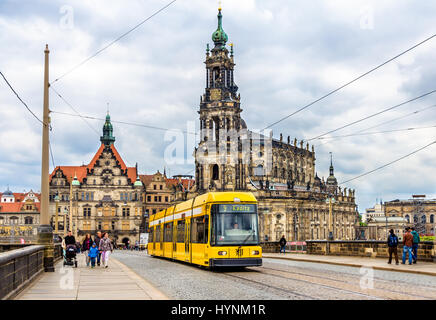 Dresden, Germany - May 04, 2014: Cathedral of the Holy Trinity and a tram. Dresden is the capital of Saxony. - Stock Photo