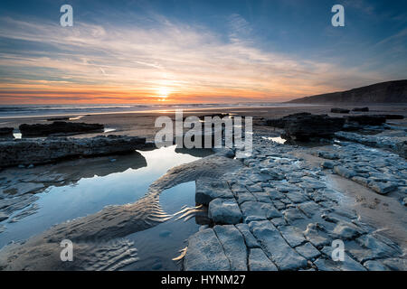 Limestone pavements on the beach at Dunraven Bay at Southerndown in the Vale of Glamorgan in south Wales - Stock Photo
