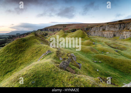 Rugged landscape of the Llangattock Escarpment in the Brecon Beacons national park in Wales - Stock Photo