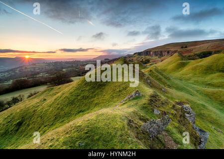 Beautiful sunrise over the Llangattock Escarpment in the Brecon Beacons national park in Wales - Stock Photo