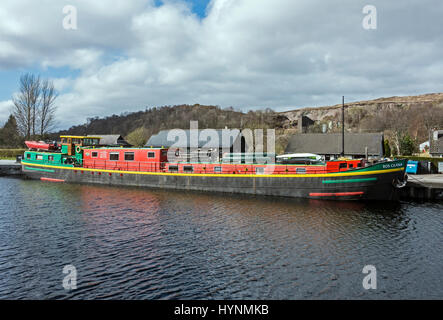 Barge Ros Crana moored in the Caledonian Canal basin at Banavie near Fort William in Highland Scotland UK - Stock Photo