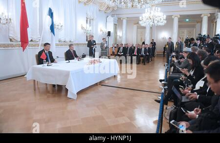 Helsinki, Finland. 5th Apr, 2017. Chinese President Xi Jinping and his Finnish counterpart Sauli Niinisto jointly - Stock Photo