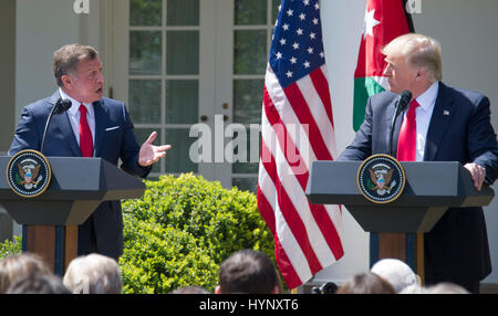 Washington, Us. 05th Apr, 2017. United States President Donald J. Trump, right, and King Abdullah II of Jordan, - Stock Photo