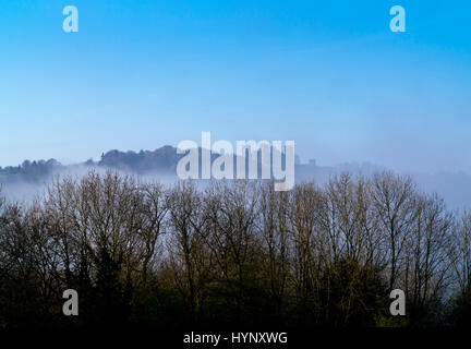 Matlock, UK. 6th Apr, 2017. Early morning mist below Riber Castle near Matlock in the Derbyshire Peak District UK. - Stock Photo