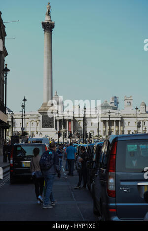 Westminster, London, UK. 6th April 2017. London cab drivers stage a demonstration in Westminster over Uber. Credit: - Stock Photo