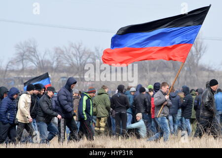 Donetsk Region, Ukraine. 6th Apr, 2017. Army reservists of the Donetsk People's Republic muster for military training - Stock Photo