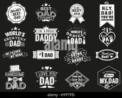 The variety of black and white dad signs. Isolated Happy fathers day quotes on the black background. Daddy congratulation - Stock Photo