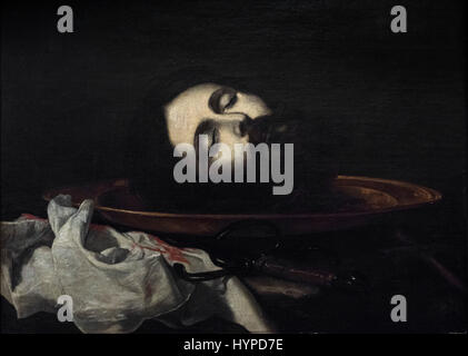 Jusepe de Ribera (1591-1652), Head of Saint John the Baptist, ca. 1630. Cabeza del Bautista. - Stock Photo