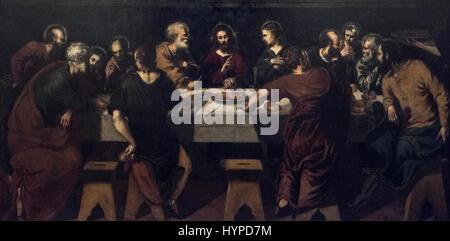 Il Tintoretto - Jacobo Robusti (1519-1594), The Last Supper, n.d. La Santa Cena. - Stock Photo