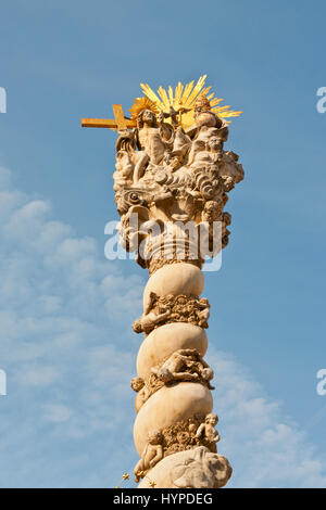 Sopron, Hungary - September 27, 2009:  Statute of the Holy Trinity or Plague Column (Marian Column) in Sopron , - Stock Photo