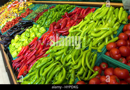 Fruits and vegetables on a supermarket - Stock Photo