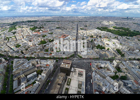 France, Paris, aerial view of the district Saint-Sulpice. Rue de Rennes at the center, Luxembourg Garden on the - Stock Photo