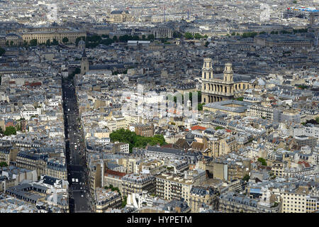 France, Paris, aerial view of the district Saint-Sulpice. Rue de Rennes on the left-hand. Louvre Museum and Church - Stock Photo