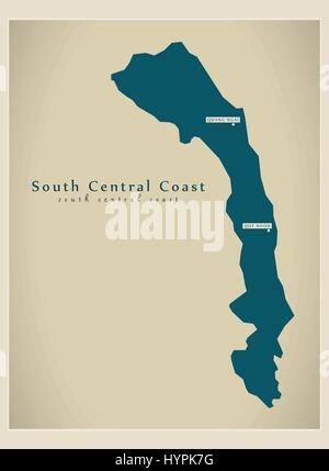 Modern Map - South Central Coast VN - Stock Photo