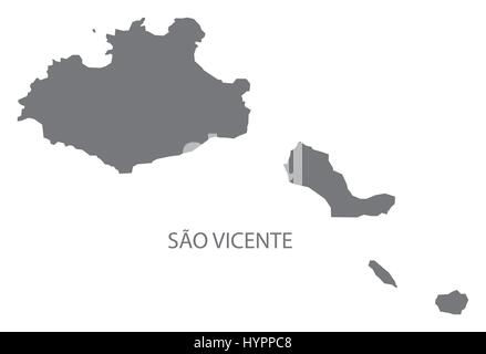 Sao Vicente Cape Verde municipality map grey illustration silhouette - Stock Photo