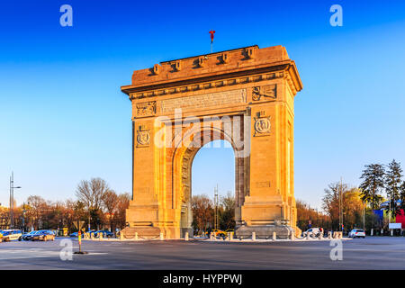 Bucharest, Romania. Arcul de Triumf ( Arch of Triumph ) is a triumphal arch located in the northern part of Bucharest, - Stock Photo