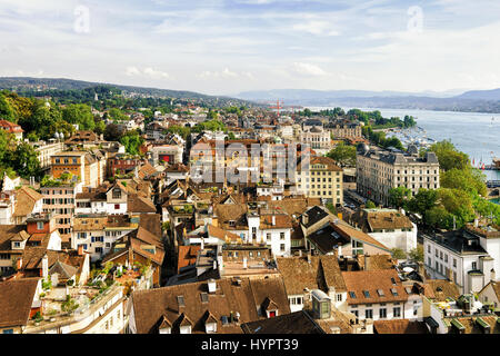 Panoramic view on Roofs at Zurich city center, Switzerland. Seen from Grossmunster - Stock Photo