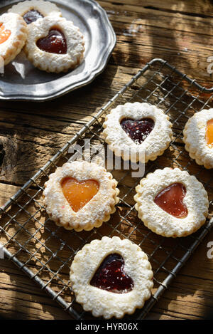 Heart cut out cookie still life with natural light streaming in. Close up - Stock Photo