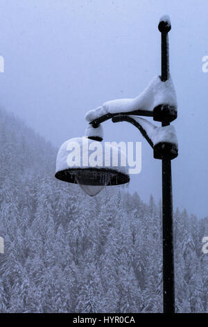Traditional wrought iron lamppost covered in snow from storm turning forest and valley snowy white - Stock Photo
