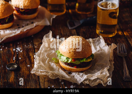 Homemade Burger with Beer. - Stock Photo