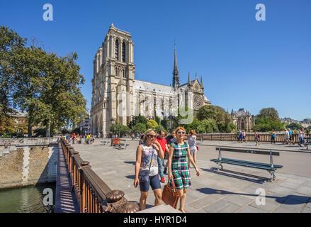 France, Paris, Seine, Ile de la Cité, view of Notre Dame Cathedral from Pont au Double - Stock Photo