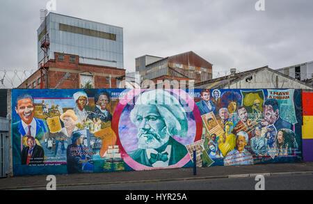 Murals in Belfast near Falls and Shankill Road, Northern Ireland - Stock Photo