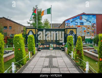 Memorial garden in Falls Road, Belfast, Northern Ireland - Stock Photo