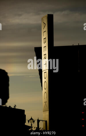 Dusk view of Albert Dock entrance signage in the cultural quarter of Liverpool. Taken 11 June 2014 in Liverpool, - Stock Photo