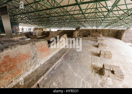 Mexico City, FEB 19: The historical and beautiful Templo Mayor Museum on FEB 19, 2017 at Mexico City - Stock Photo