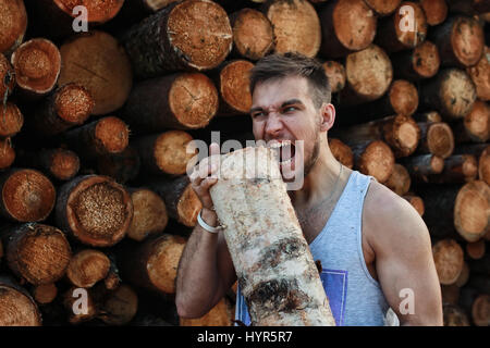 bearded person near timber pile wood - Stock Photo