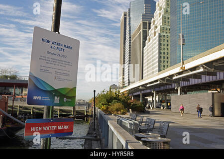 New York, NY, USA - November 8, 2016: High Water Mark sign on the East River in Lower Manhattan which records the - Stock Photo