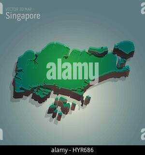 vector 3d map illustration of SINGAPORE - Stock Photo