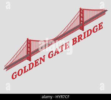 vector 3d illustrated golden gate bridge san francisco - Stock Photo