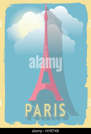vector illustration eiffel tower of paris france on retro style poster or postcard. - Stock Photo