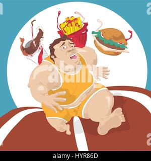 fat man running away from fast food - Stock Photo