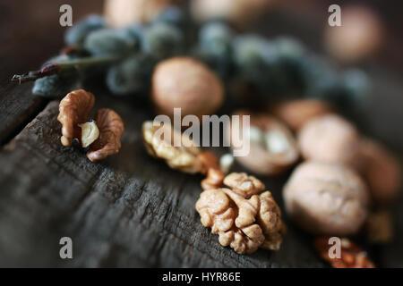 walnuts, whole and peeled - Stock Photo