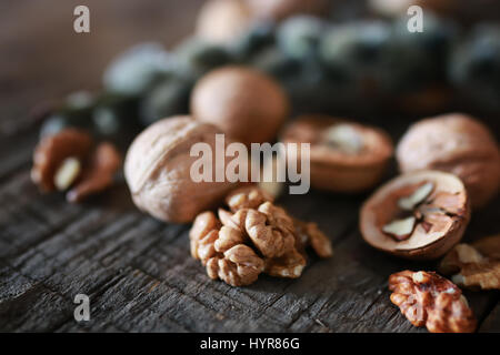 walnuts, whole and peeled - Stock Photo