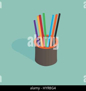 3d isometric pencil holder vector illustration with pencils - Stock Photo