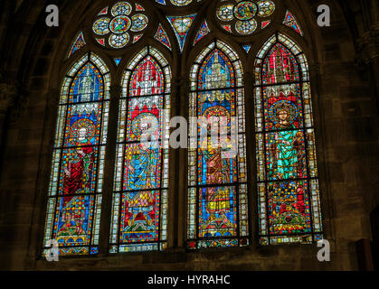 Stained-glass windows, Notre-Dame gothic cathedral 14th century, Strasbourg, Alsace, France, Europe, - Stock Photo