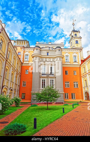 Observatory courtyard and the tower at Vilnius University, Vilnius, Lithuania. - Stock Photo