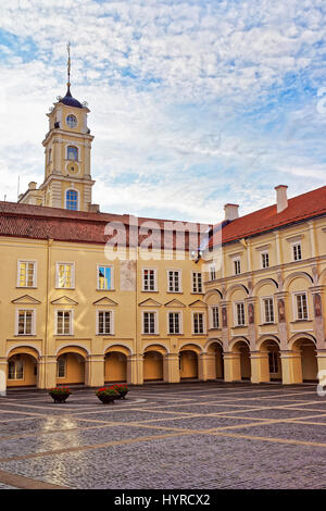 Grand Courtyard and Observatory tower at Vilnius University, Vilnius, Lithuania - Stock Photo