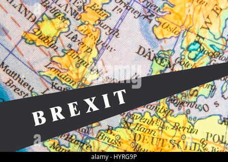 European Map with Gap Symbolizing Brexit - Stock Photo