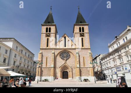 The Cathedral of Jesus' Heart in Sarajevo Bosnia and Herzegovina. - Stock Photo
