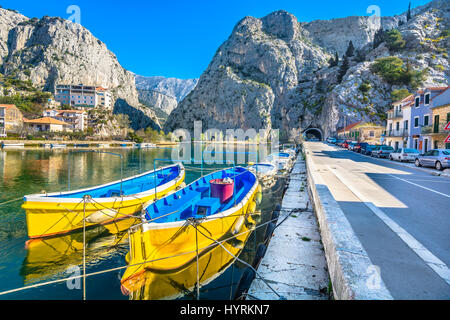 Picturesque scenery in town Omis and river Cetina estuary, Croatia. - Stock Photo