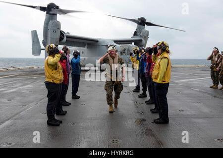 U.S. Marines Commanding General Lawrence Nicholson salutes rainbow sideboys as he arrives aboard the USN San Antonio - Stock Photo