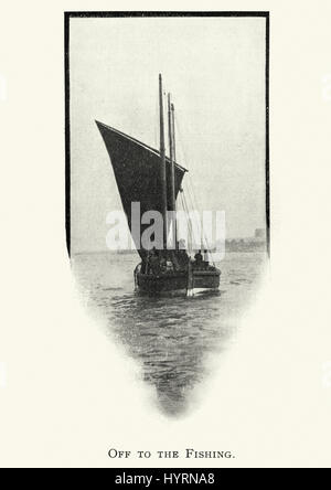 Vintage photograph of a Fishing boat heading out to sea, c. 1913 - Stock Photo
