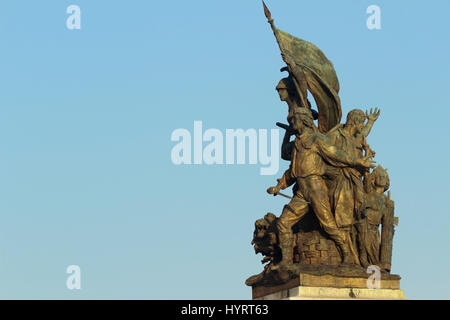 statue of liberty: part of the monument of Vittorio - Stock Photo